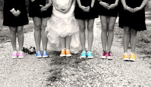 Include wedding detail photos like bridesmaid's shoes or groomsman's wacky socks.