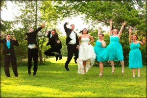 wedding photo in a field