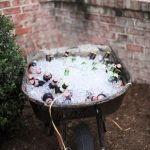 Rustic outdoor wedding themed drink station